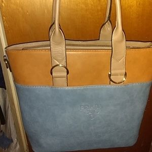 Blue and Brown Prada Bag